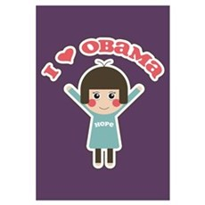 I Love Obama Hope Poster (Small) Framed Print