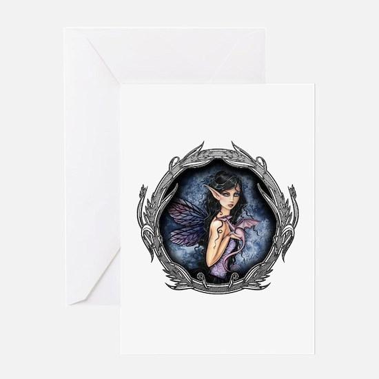Gothic Fairy and Dragon Fantasy Art Greeting Card