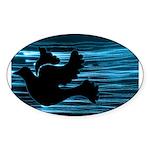 Black Dove Flying through Blu Sticker (Oval 50 pk)