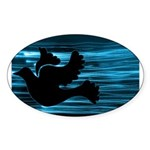 Black Dove Flying through Blu Sticker (Oval 10 pk)