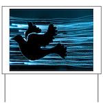 Black Dove Flying through Blu Yard Sign