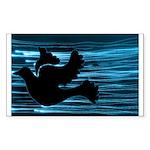 Black Dove Flying through Blu Sticker (Rectangle)