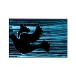 Black Dove Flying through Blu Rectangle Magnet (10