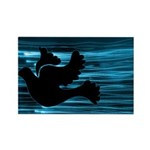 Black Dove Flying through Blu Rectangle Magnet