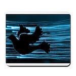 Black Dove Flying through Blu Mousepad