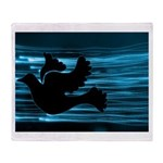 Black Dove Flying through Blu Throw Blanket