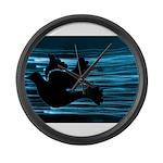 Black Dove Flying through Blu Large Wall Clock