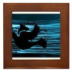 Black Dove Flying through Blu Framed Tile