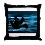 Black Dove Flying through Blu Throw Pillow