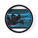 Black Dove Flying through Blu Wall Clock