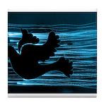 Black Dove Flying through Blu Tile Coaster