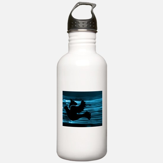 Black Dove Flying through Blu Water Bottle