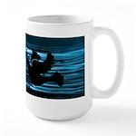 Black Dove Flying through Blu Large Mug