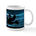 Black Dove Flying through Blu Mug