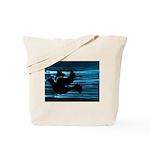 Black Dove Flying through Blu Tote Bag