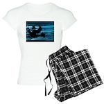 Black Dove Flying through Blu Women's Light Pajama
