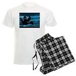 Black Dove Flying through Blu Men's Light Pajamas
