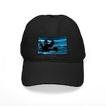 Black Dove Flying through Blu Black Cap