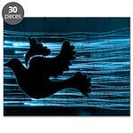 Black Dove Flying through Blu Puzzle