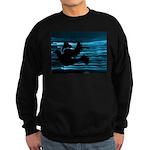 Black Dove Flying through Blu Sweatshirt (dark)