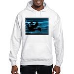 Black Dove Flying through Blu Hooded Sweatshirt
