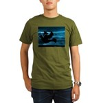 Black Dove Flying through Blu Organic Men's T-Shir