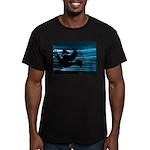 Black Dove Flying through Blu Men's Fitted T-Shirt