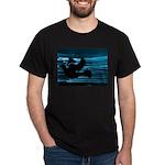 Black Dove Flying through Blu Dark T-Shirt