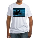 Black Dove Flying through Blu Fitted T-Shirt