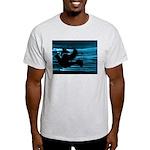 Black Dove Flying through Blu Light T-Shirt