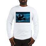 Black Dove Flying through Blu Long Sleeve T-Shirt