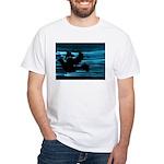 Black Dove Flying through Blu White T-Shirt