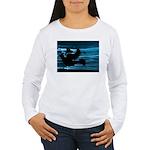 Black Dove Flying through Blu Women's Long Sleeve