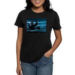 Black Dove Flying through Blu Women's Dark T-Shirt