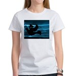 Black Dove Flying through Blu Women's T-Shirt