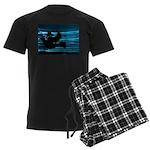 Black Dove Flying through Blu Men's Dark Pajamas