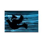 Black Dove Flying through Blu 38.5 x 24.5 Wall Pee