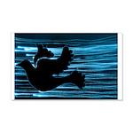 Black Dove Flying through Blu 22x14 Wall Peel