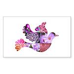 Pink Dove Flying Sticker (Rectangle 50 pk)