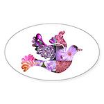 Pink Dove Flying Sticker (Oval 50 pk)