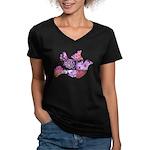 Pink Dove Flying Women's V-Neck Dark T-Shirt