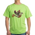 Pink Dove Flying Green T-Shirt