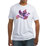 Pink Dove Flying Fitted T-Shirt