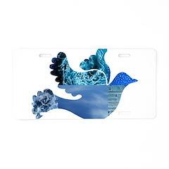 Blue Bird - Dove in flight Aluminum License Plate
