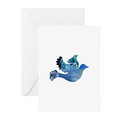 Blue Bird - Dove in flight Greeting Cards (Pk of 2