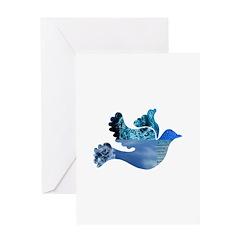 Blue Bird - Dove in flight Greeting Card