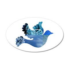 Blue Bird - Dove in flight 22x14 Oval Wall Peel