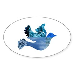 Blue Bird - Dove in flight Sticker (Oval 50 pk)