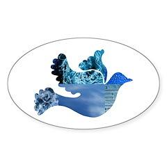 Blue Bird - Dove in flight Sticker (Oval)
