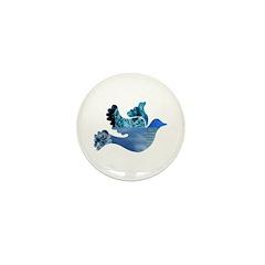 Blue Bird - Dove in flight Mini Button (100 pack)
